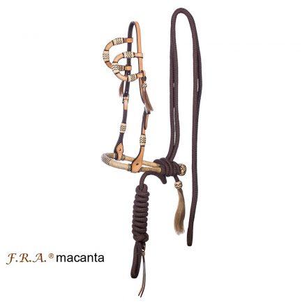 FRA 'Macanta' kétfüles díszes bőr kantár bosallal és mecatéval kompletten, 2féle színnel 3 méretben rendelhető