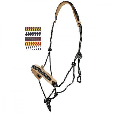 FRA Csomózott profi kötőfék 'Pablo' cob mérettel, 6féle színnel rendelhető, orr és tarkóvédővel, 7mm vtg